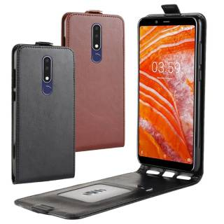 Flip Case Crazy Horse Handy Tasche Swipe Card Slot für Nokia 3.1 Plus